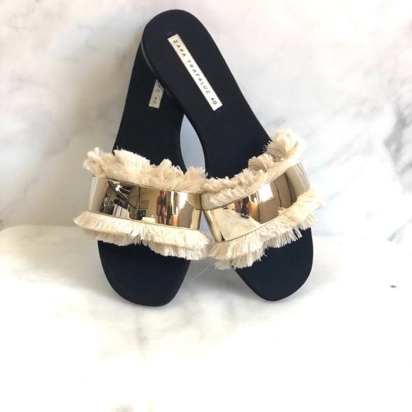 0a0dc4359 Zara Shoes   Fringe Slides Gold Nwb Nwt   Poshmark